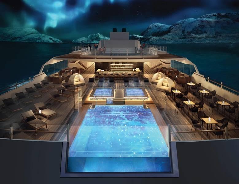 На кораблях Hurtigruten будет несколько смотровых площадок, пейзажный бассейн и панорамная сауна, а также джакузи на открытом воздухе на самой верхней палубе. Фото: Хуртигрутен