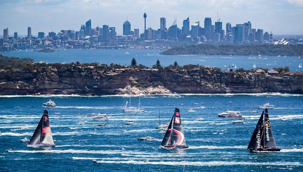 الشوفان البري الحادي عشر ، Scallywag و Infotrack بعد وقت قصير من انطلاق سباق رولكس سيدني هوبارت عام 2018. الصورة: Courtesy Rolex Sydney Hobart Yacht Race.