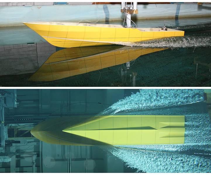 ビルプリンスによるプロジェクトフェニックスの船体のタンクテスト写真。