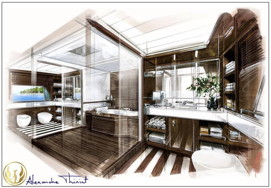 由Alex Thiriat主浴室凤凰客舱内部。