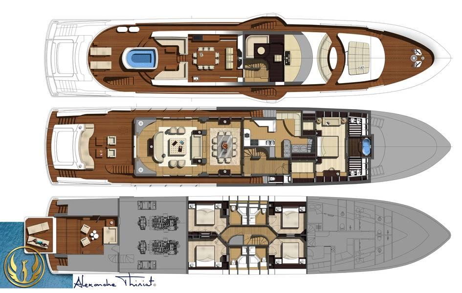 项目Phoenix系列甲板和GA渲染由Alex Thiriat室内设计。