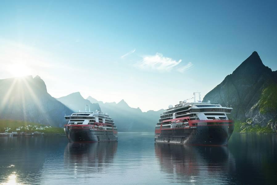 Hurtigrutenは、ノルウェーフィヨルド、スバールバル諸島、ロシア、南アメリカ、南極大陸など、さまざまな目的地へのクルーズを計画しています。写真:フルティグルテン
