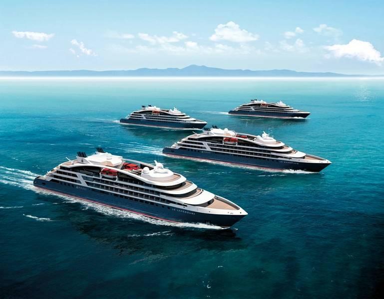 Cuatro de los cinco barcos que Ponant tiene bajo pedido. (c) PONANT - STERLING DESIGN INTERNATIONAL