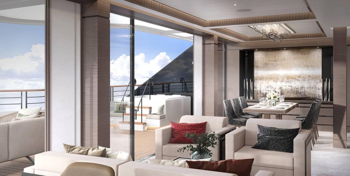 Dayroom da suíte do proprietário. Crédito da foto: The Ritz Carlton Yacht Collection