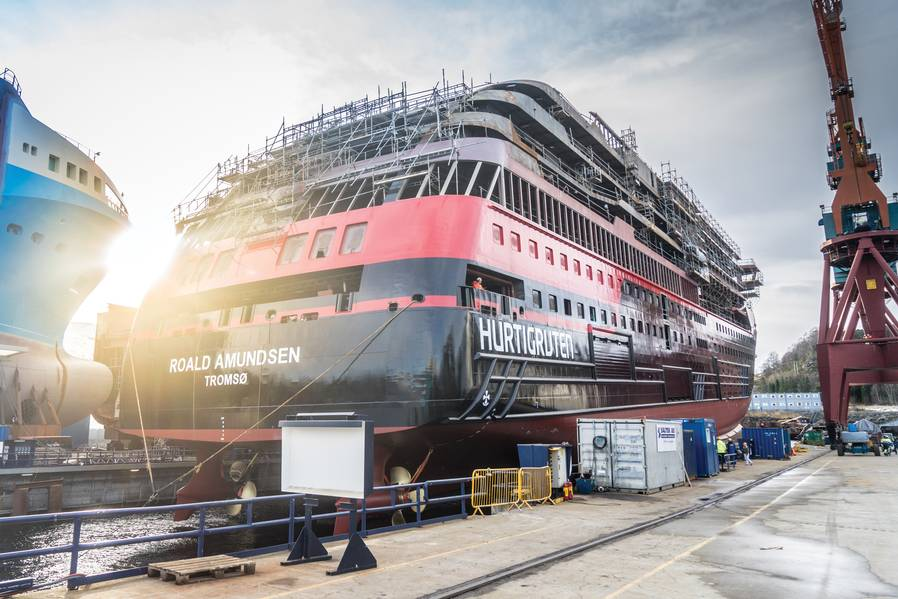 Die MS Roald Amundsen im Bau auf der Werft Kleven Verft AS in Ulsteinvik, Norwegen. Foto: Hurtigruten