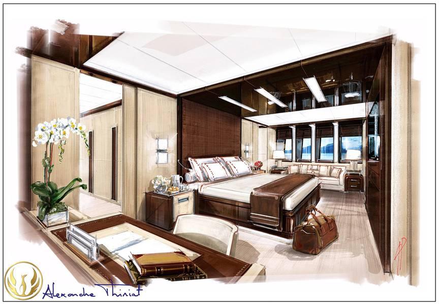 Projekt Phoenix stateroom interior rendering von Alex Thiriat.
