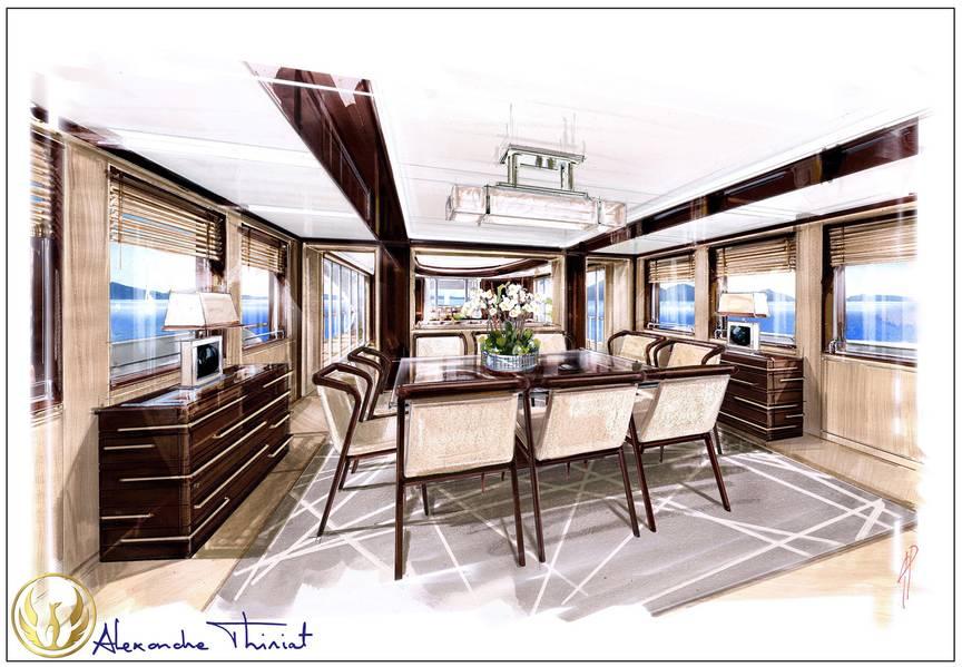 Projeto Phoenix 130 Interior de jantar por Alex Thiriat.