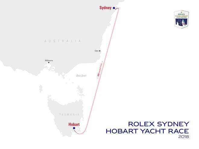 Rolex Sydney Hobart Yacht Race Course Karte. Bild: Mit freundlicher Genehmigung von Rolex Sydney Hobart Yacht Race.