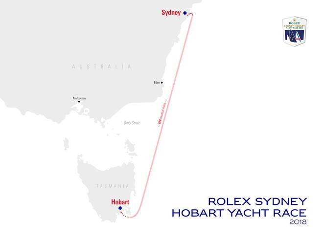 Rolex Sydney Hobart Yacht Race Course Mapa. Imagem: Cortesia Rolex Sydney Hobart Yacht Race.