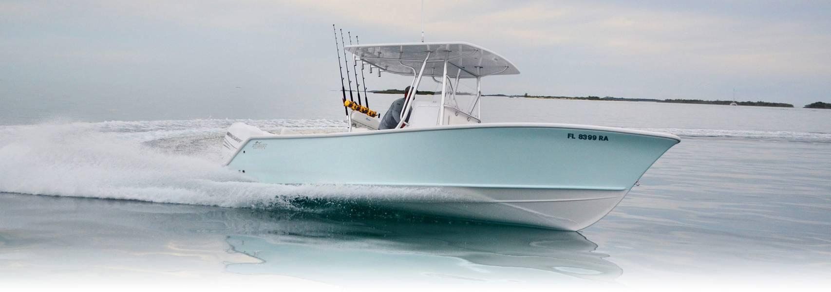 O Stuart Boatworks 27 foi um gamechanger para o Ocean5, em exposição pela primeira vez no show internacional de barcos de Miami este ano. Imagem Cortesia Ocean 5 Naval Architects.