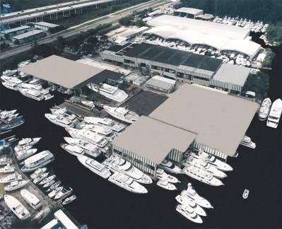 Los 11,000 pies lineales de atraque en el agua de Bradford Fort Lauderdale. Foto cortesía de Bradford Marine.