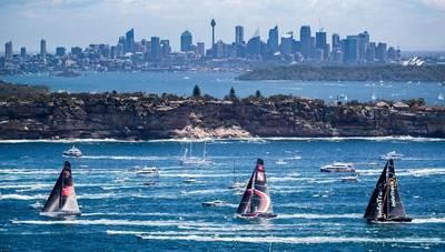 Wild Oats XI, Scallywag und Infotrack kurz nach dem Start des Rolex Sydney Hobart Yacht Race 2018. Foto: Mit freundlicher Genehmigung von Rolex Sydney Hobart Yacht Race.