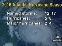 In it's 2016 Atlantic Hurricane Season Outlook Update, NOAA's National Weather Service indicates there is a 70 percent chance of 12 to 17 named storms. (NOAA)