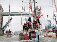 London's Tower Bridge opens its gates to welcome home fleet of Clipper Round the World yacht race, Saturday, July 30, 2016. Photo: Clipper Round the World Yacht Race