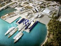 Rendering of Derecktor Ft. Pierce with 1,500-ton mobile boat hoist and planned dry docks. (Image: Derecktor Ft. Pierce)