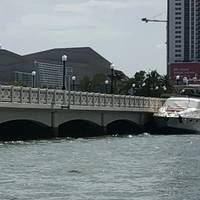 The 65-foot pleasure yacht Zenith allides with the Venetian Causeway Bridge in Miami, June 16, 2018. After being boarded by a Coast Guard Station Miami 33-foot Special Purpose Craft-Law Enforcement boatcrew, it was discovered that the yacht had several safety violations. (Coast Guard Photo)
