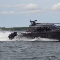 M15Q conducting maneuverability and high speed test runs. Photo courtesy Marell Boats of Sweden