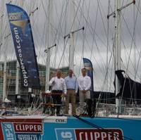 Coppercoat's Ewan Clark and Jason Kenny with Clipper's Head of Fleet Maintenance, Simon Johnston. (Photo: Coppercoat)