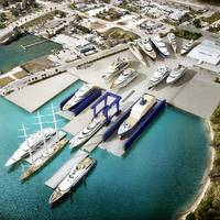 Rendering of Derecktor Ft. Pierce with 1,500-ton mobile boat hoist and planned dry docks. (Image: Derecktor Ft. Pierce)