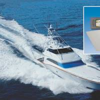 The M/Y Rumbera. Inset shows control console and fin for WESMAR DSP5000 Stabilizer. (Photo: WESMAR)