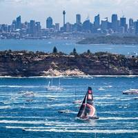 Wild Oats XI, Scallywag and Infotrack shortly after the 2018 Rolex Sydney Hobart Yacht Race start. Photo: Courtesy Rolex Sydney Hobart Yacht Race.
