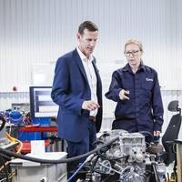 Volvo Penta's chief technology officer, Johan Carlsson, and system engineer, Karin Åkman, discuss innovation for electromobility at the company's new development-and-test laboratory in Gothenburg. (Photo: Volvo Penta)