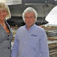 YachtProjects International owner Pippa Nicholas, left, and Allan Foot, MD of Solent Refit, right, at Hythe (Photo: YachtProjects)