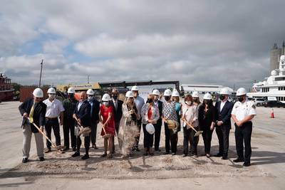 Derecktor officials broke ground at the Port on Friday, November 13 during a small ceremony where federal, state and local dignitaries brandishing golden shovels, hard hats and face masks gathered to commemorate the historic occasion. (Photo: Steven Martine, handout via Derecktor Shipyards)