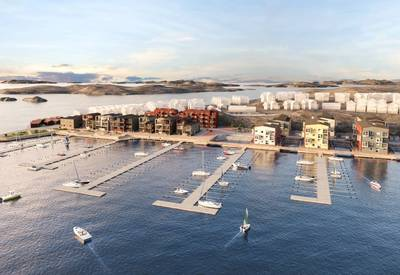 SF Marina and harbor owner AB Toftö are jointly planning to completely redevelop the old industrial harbor at Skärhamn on Sweden's west coast as a high-quality mixed-use marina. (Photo from SF Marina)