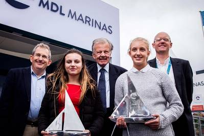 Pictured are (left to right): Mark Todd (Chief Executive Ocean Youth Trust South), Mia Brackley, Lord Iliffe (Board Chairman, Yattendon Group Plc), Elizabeth Bland and Michael Glanville (Operations Director MDL Marinas). (Photo: MDL Marinas)