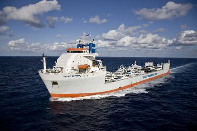 DYT Yacht Transport's largest semi-submersible ship, Yacht Express, will make its first trip to Sydney, Australia. (Photo credit: Onne van der Wal)