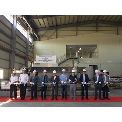 Aluminum cutting ceremony at GHI Shipyard in South Korea for Project Phoenix by Alex Thiriat.