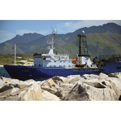 Geo Arctic Seismic Vessel entering into Fort Dauphin harbour in Southern Madagascar at the end of the most recent seismic survey.