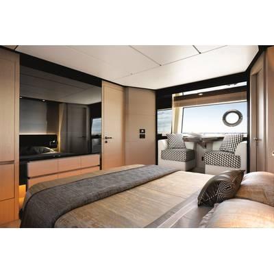 Azimut 74' Master Cabin - Sand_Oak & Glossy Ebony Version. Image courtesy of Azimut Yachts