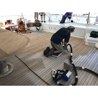 Bridge deck aft sanding. Photos by Hill Robinson.