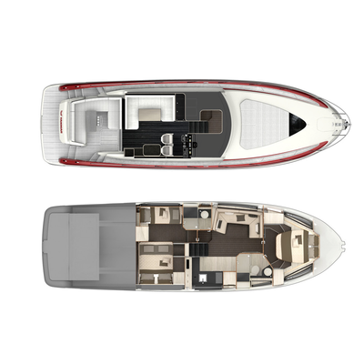 Example of X47 deck layout (top) and interior layout (bottom) (Photo: Yanmar)