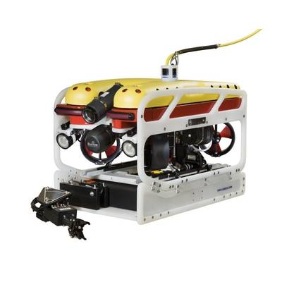 The Falcon can be fitted with a range of cameras for detailed hull inspection and deep seabed exploration, along with tools for handling items, rope cutting and cleaning. (Saab Seaeye)