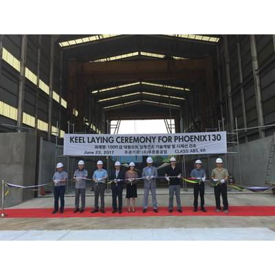 Keel laying ceremony photo at GHI Shipyard in South Korea for Project Phoenix by Alex Thiriat.