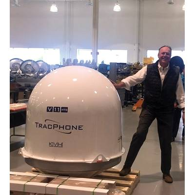 Martin Kits van Heyningen, CEO, KVH, on the manufacturing floor on the day KVH shipped its first TracPhone V11-HTS in April 2019. Photo: KVH