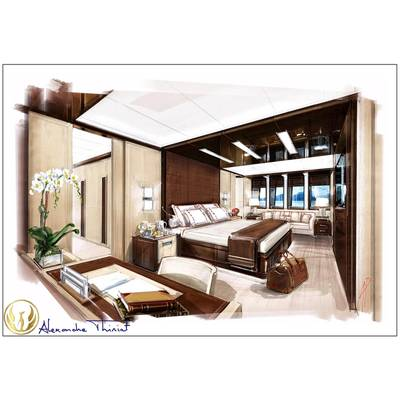 Project Phoenix stateroom interior rendering  by Alex Thiriat.