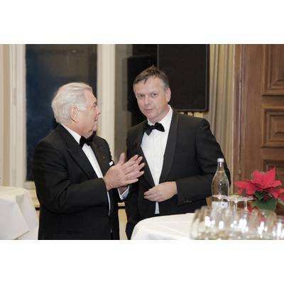 """He is one of the most remarkable and best known personalities of the cruise industry with an unmatched footprint set. An honorable merchant departs""    Michael Thamm (right) CEO Costa Crociere, said at Jochen Deerberg's  (left) Farewell Dinner, December 12, 2015, at Oldenburg Castle. (Photos: Elke Röbken)"