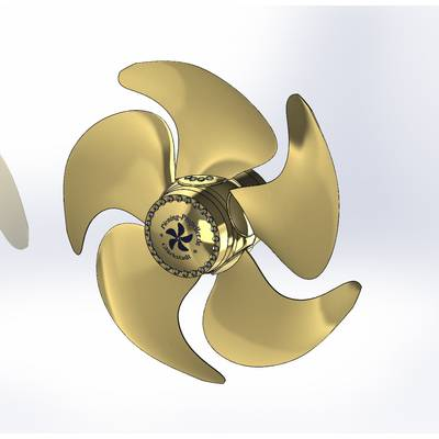 Environmentally-friendly PCP5 propeller – individual parts and fully assembled. (Image: Otto Piening GmbH)